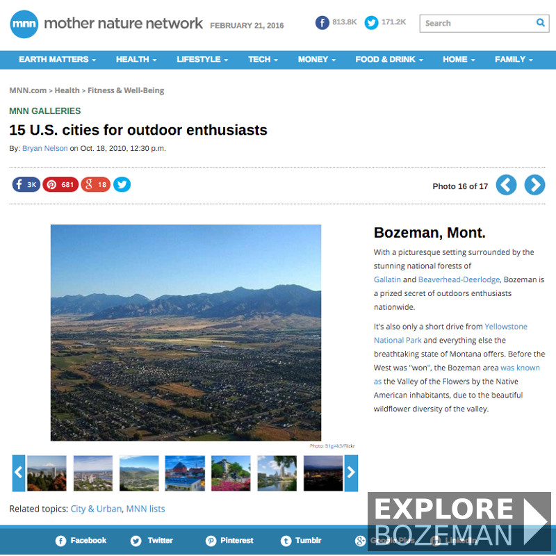 15 U.S. cities for outdoor enthusiasts - Bozeman, MT