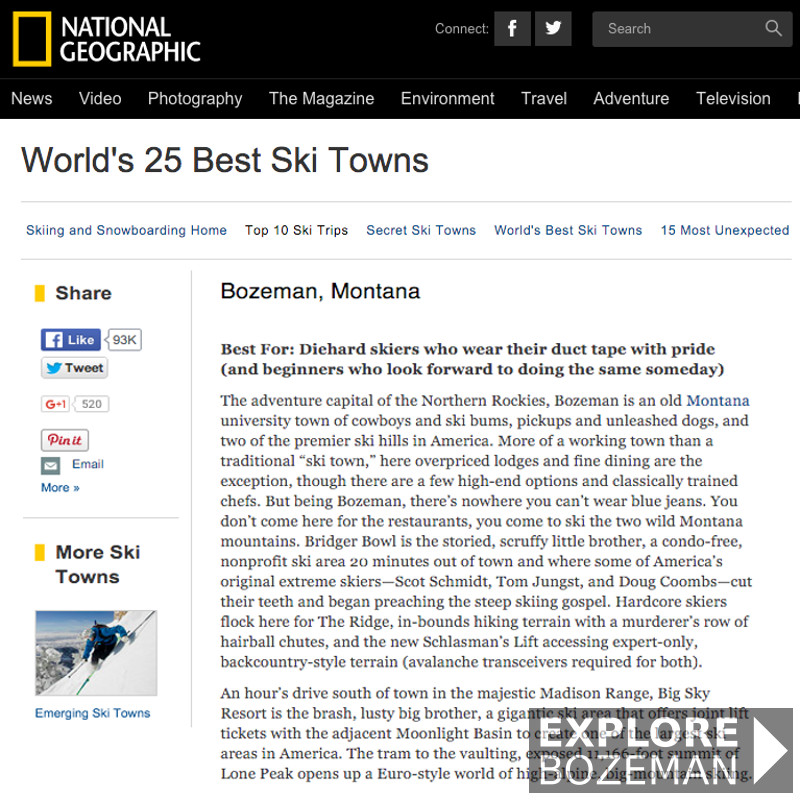 National Geographic – Worlds 25 Best Ski Towns