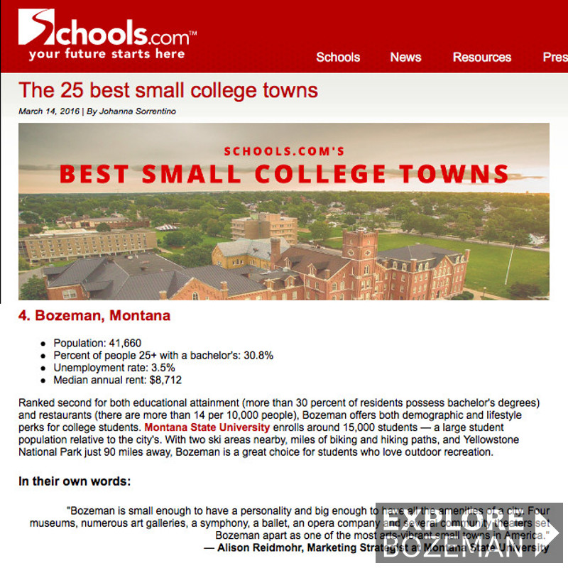The 25 best small college towns - Bozeman, MT