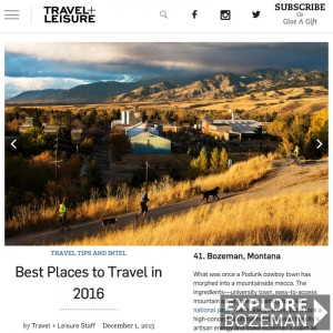 Travel & Leisure Best Places To Travel - Bozeman