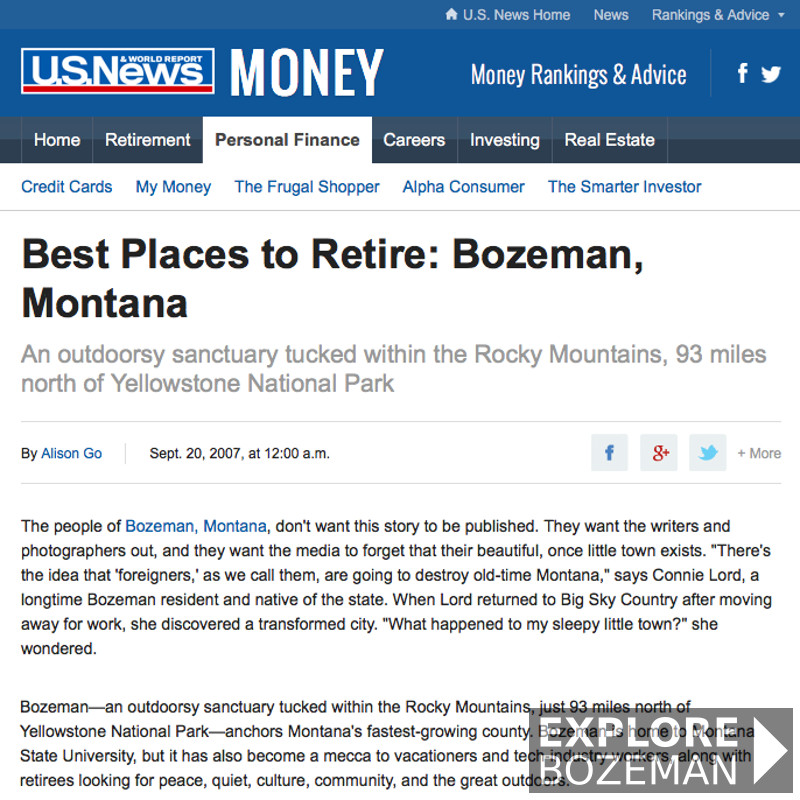 Bozeman articles best place explore bozeman for Best small cities to retire in